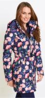 Dlouhá květovaná prošívaná bunda s páskem