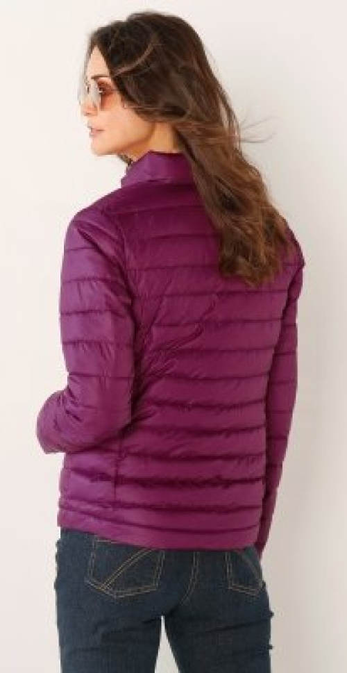 Fialová dámská zimní bunda do pasu
