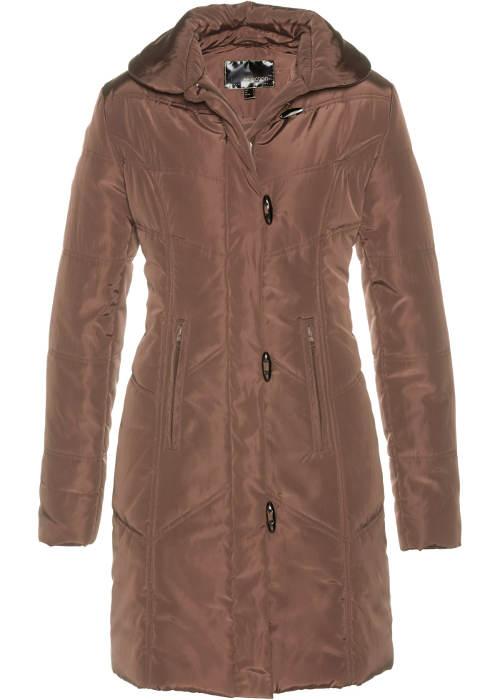 Hnědý dámský prošívaný kabát