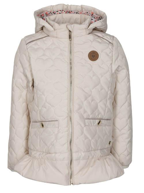 Holčičí béžová prošívaná nepromokavá bunda s kapucí