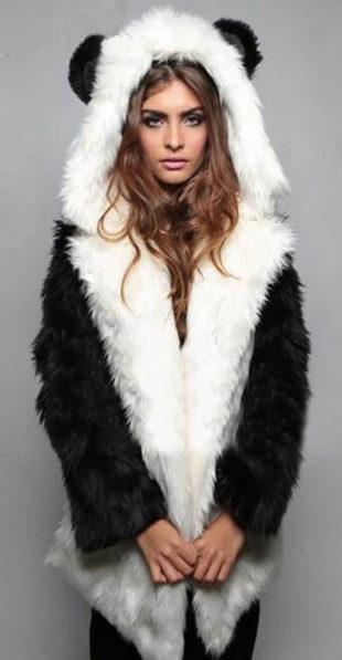 Huňatý dámský zimní kabát PANDA
