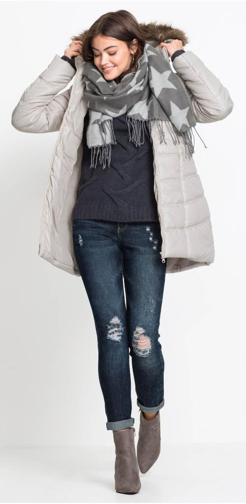 Kamenně šedá dámská zimní bunda