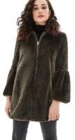 Khaki kožíškový kabátek se zvonovými rukávy