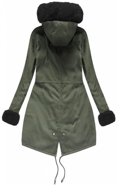 Khaki zimní bunda s černým kožíškem