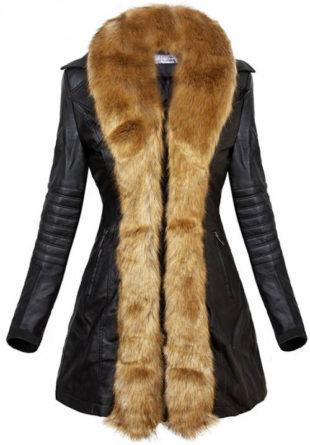 Kožený dámský zimní kabát s liškou