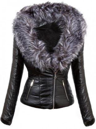 Krátká černá lesklá bunda s umělou kožešinou