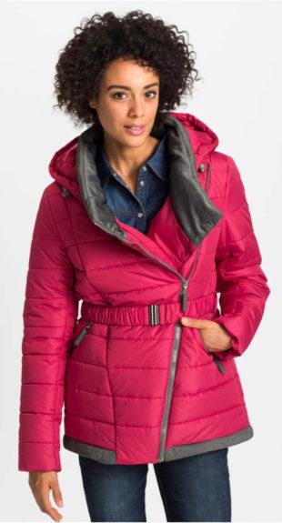 Krátký zimní zavinovací kabát s páskem