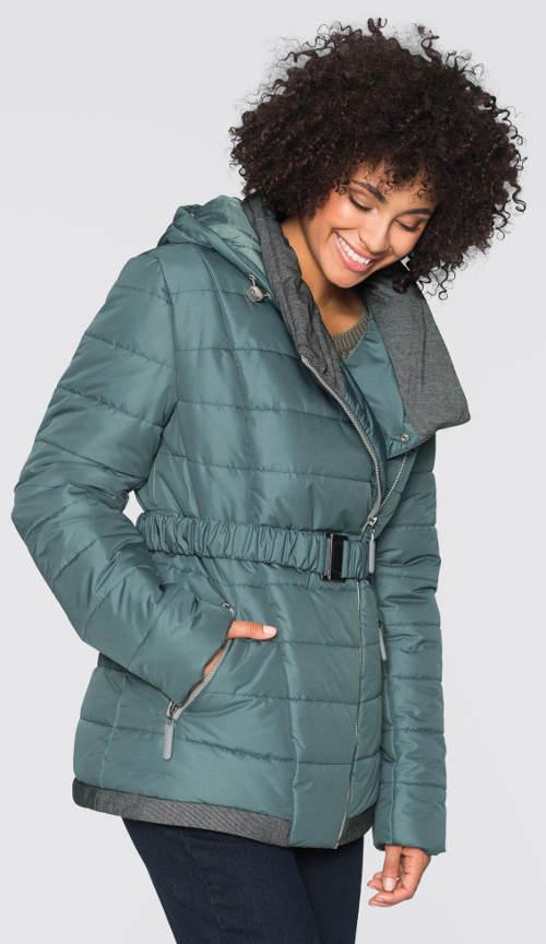 Krátký zimní kabát kovové barvy
