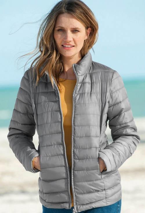 Lehounká šedá dámská zimní bunda