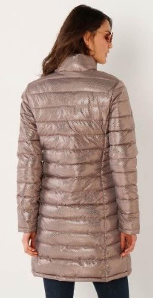 Lesklá hnědošedá dámská zimní bunda