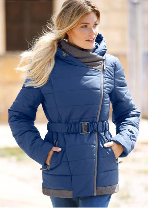 Modrá dámská bunda se stahovacím opaskem