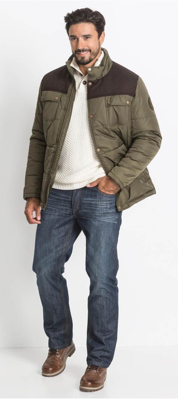 Pánská zimní bunda s kontrastní vsadkou