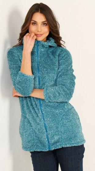 Plyšová dámská bunda s kapucí