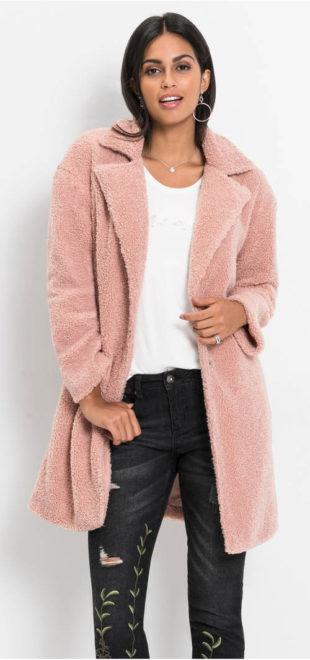 Plyšový dámský kabát na podzim, zimu i jaro