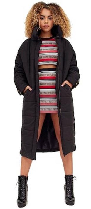 Prodloužená oversized nadýchaná dámská zimní bunda