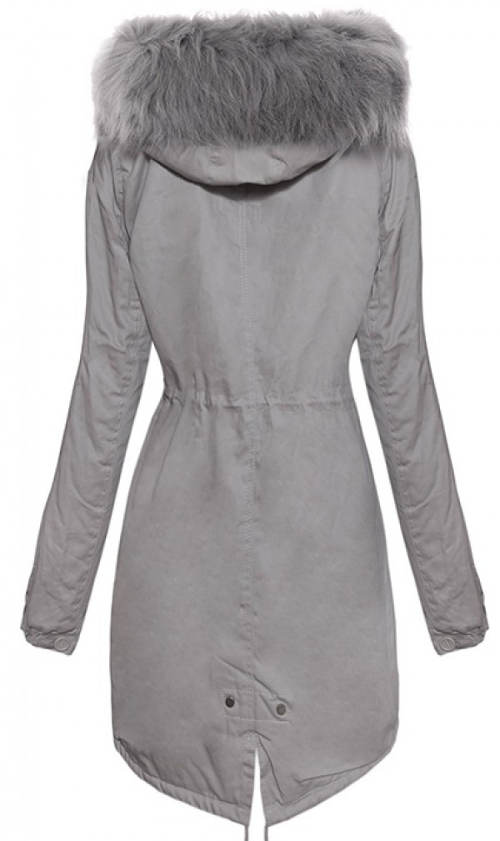 Prodloužená šedá dámská zimní bunda