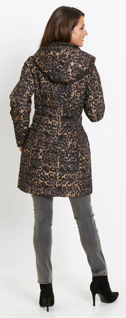 Prošívaný dámský kabát se zvířecím vzorem