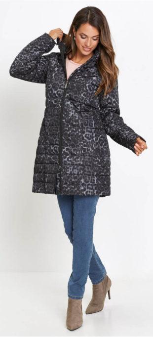Prošívaný zimní kabát s geopardím potiskem