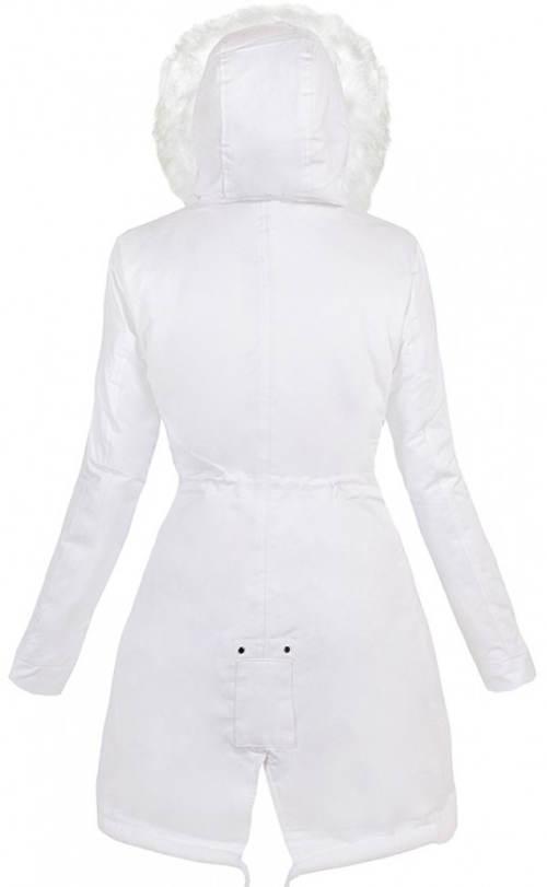 Romantická bílá dámská zimní bunda