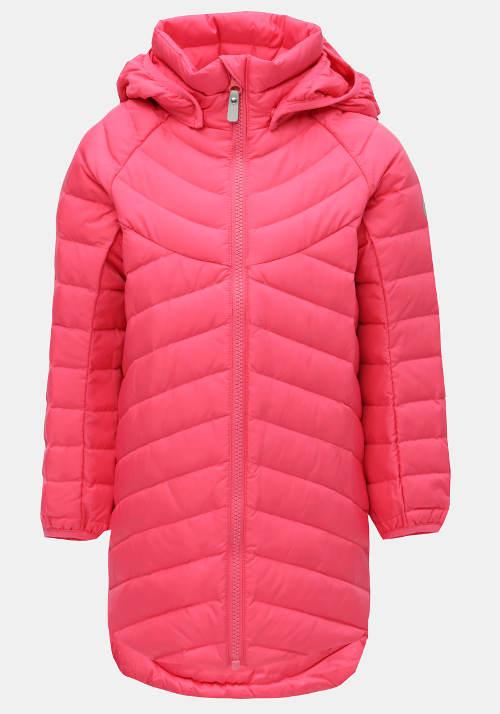 Růžová holčičí neonová funkční péřová bunda
