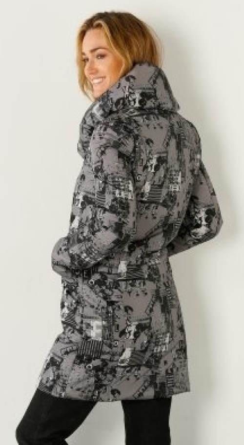 Šedá dámská bunda s šalovým límcem