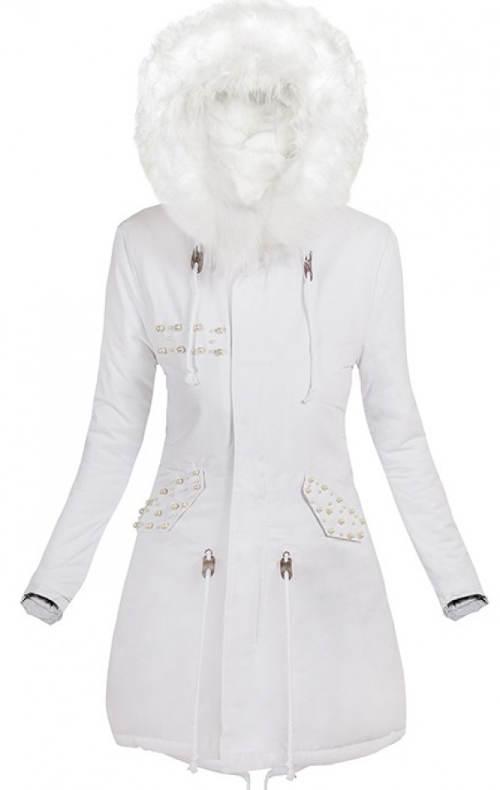 Sněhobílá dámská zimní parka s kožíškovou kapucí