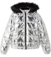Stříbrná prošívaná bunda pro dívky