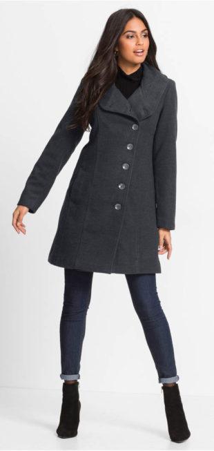 Trendy dámský zimní kabát se stojáčkem