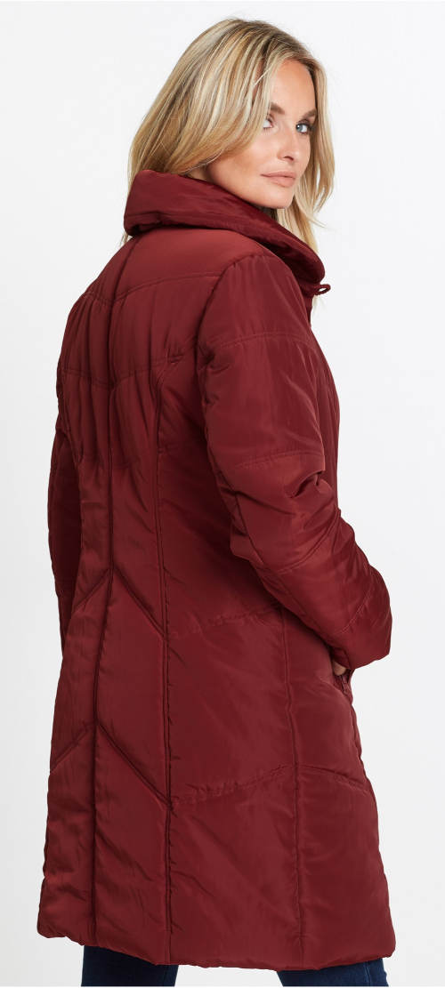 Vínový dámský zimní prošívaný kabát