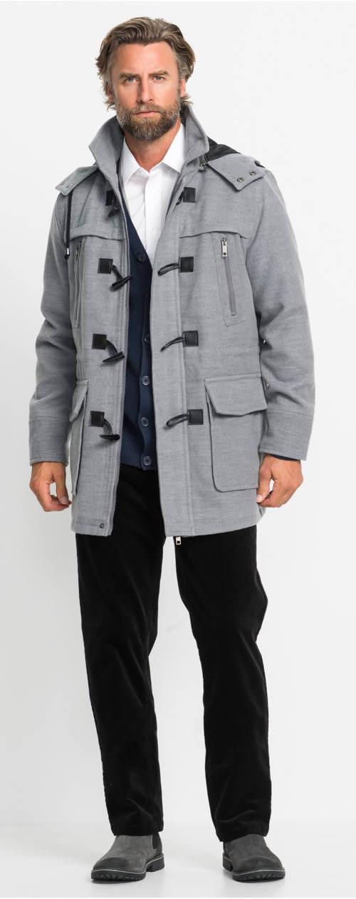 Vlněné pánský šedý kabát s kolíkovými knoflíky