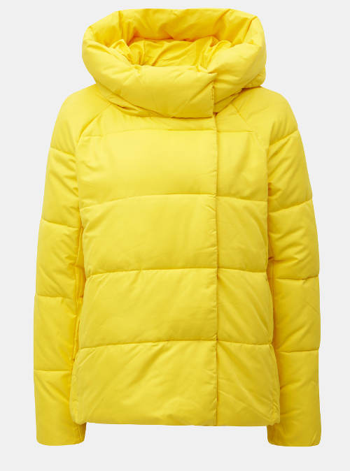Zářivě žlutá prošívaná zimní bunda s kapucí