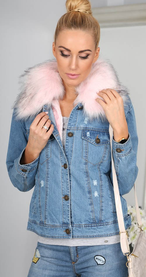 Zateplená jeansová bunda s kožešinovým límcem