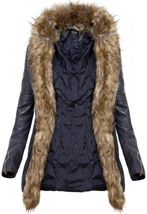 Zimní bunda s dlouhou falešnou kožešinou