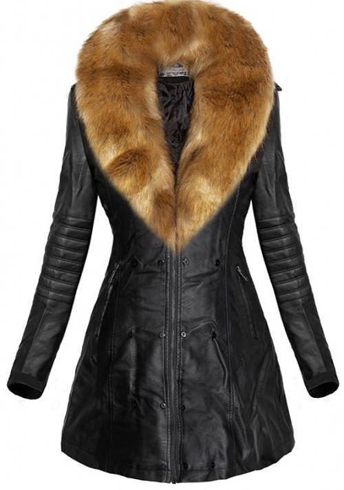 fe22a373641 Kožený dámský zimní kabát s liškou