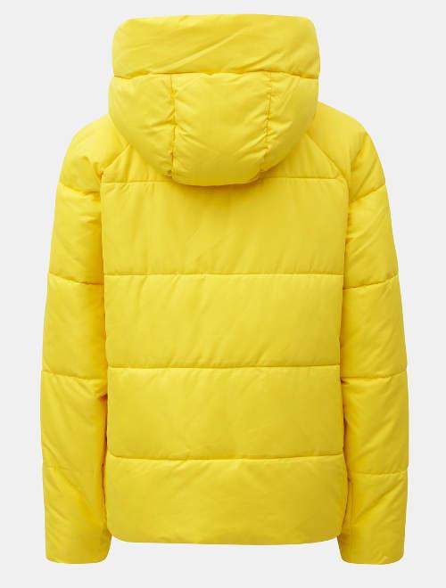 Žlutá zimní bunda s kapucí