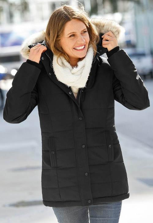 Černá dámská zimní prošívaná bunda