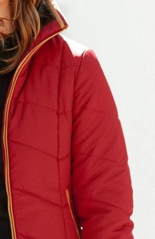 Červená dámská prošívaná zimní bunda