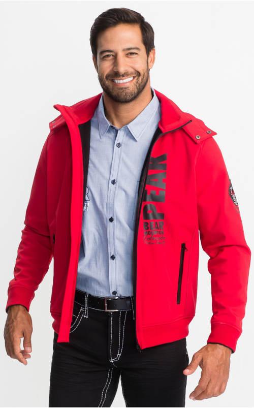 Červená pánská softshellová bunda