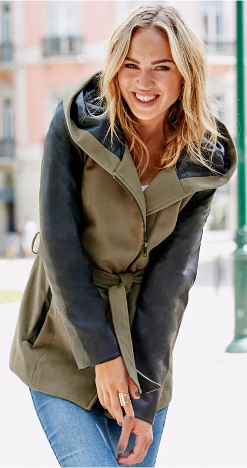 Dámská bunda s vsadkami z umělé kůže