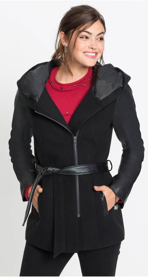 Dámská černá kabátová bunda s koženými rukávy