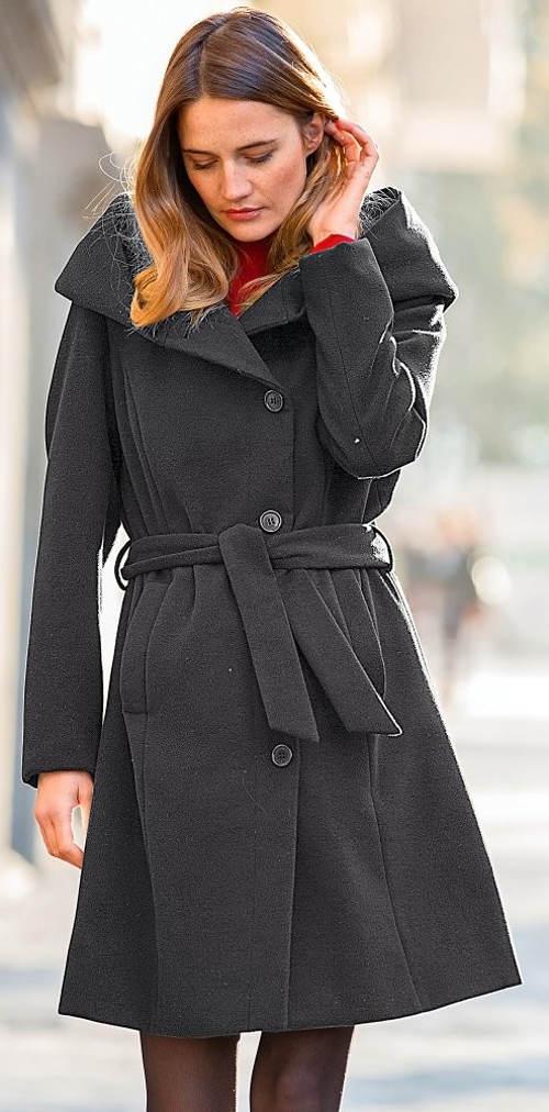 Elegantní šedý dámský kabát