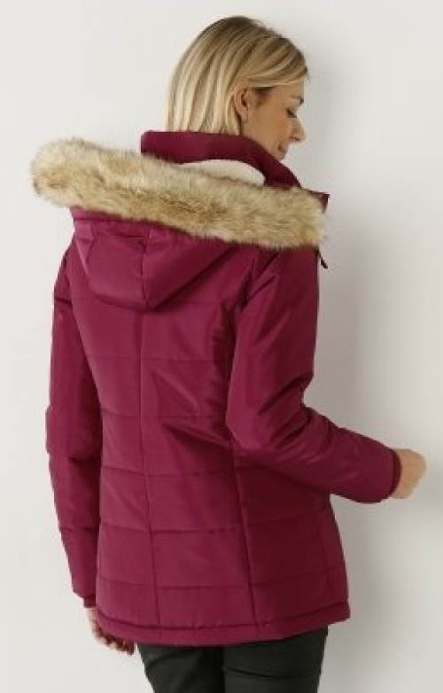 Fialová dámská zimní bunda pro plnoštíhlé