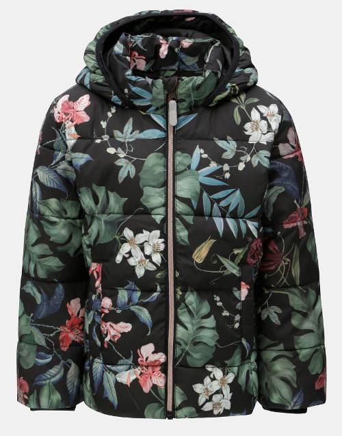 Holčičí zimní prošívaná bunda s květinovým potiskem