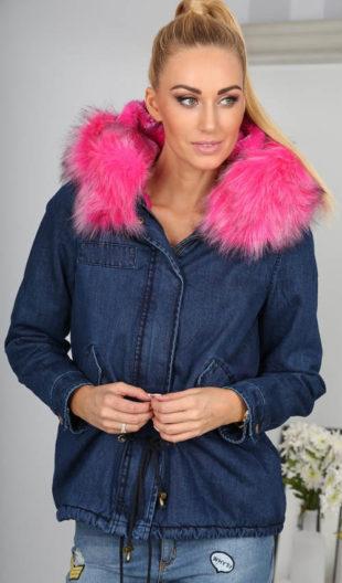 Jeansová bunda s růžovou chlupatou kapucí