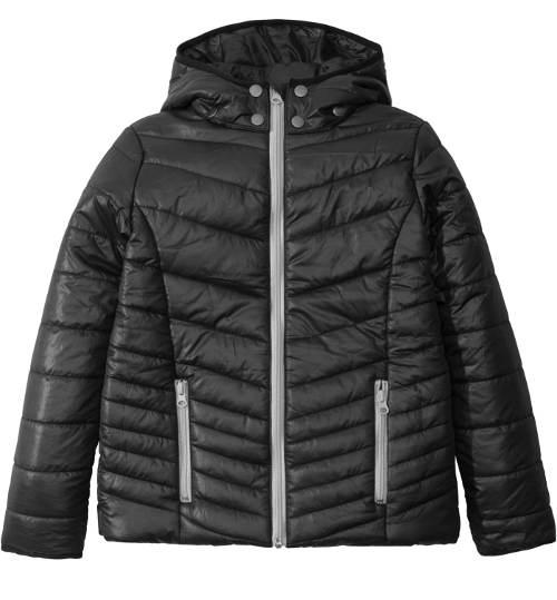Levná černá dětská vatovaná bunda