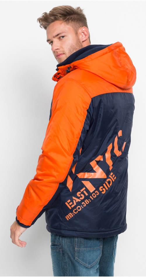 Oranžovo-modrá pánská outdoorová bunda