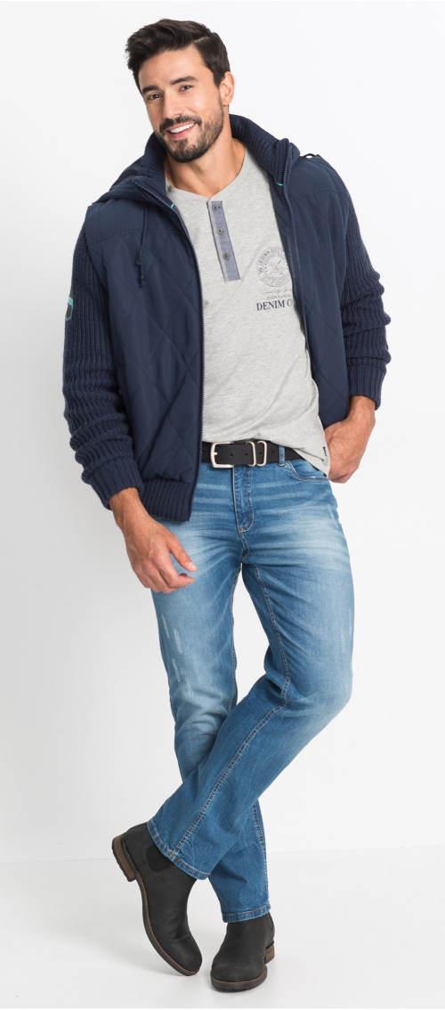 Pánská jarní bunda s pletenými rukávy