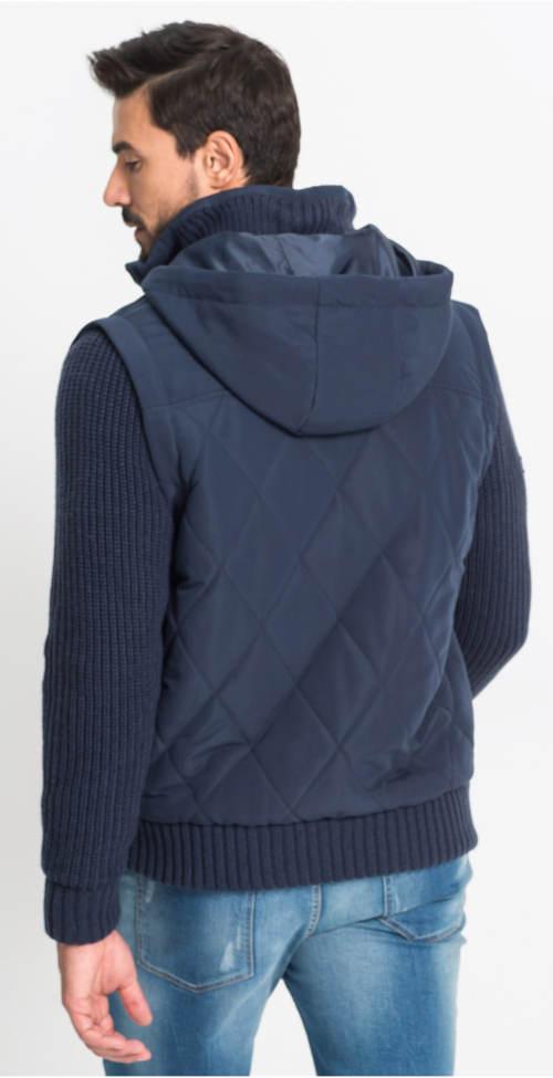 Pánská modrá bunda s pletenými rukávy