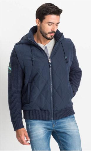 Pánská vestová bunda s pletenými rukávy