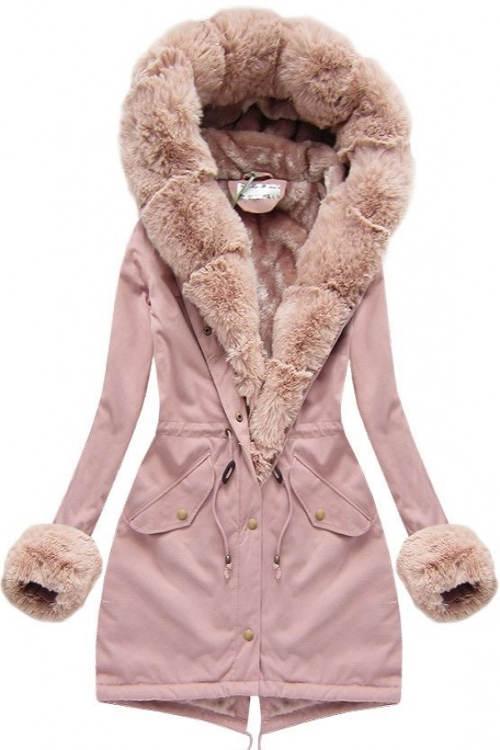 Růžová dámská parka s liškou a kožíškem na rukávech